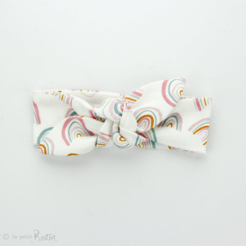 Newborn Organic Cotton Top Knot Headband - Exclusive Rainbow