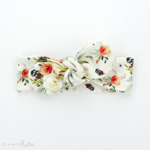 Newborn Organic Cotton Round End Top Knot Headband - Autumn Floral