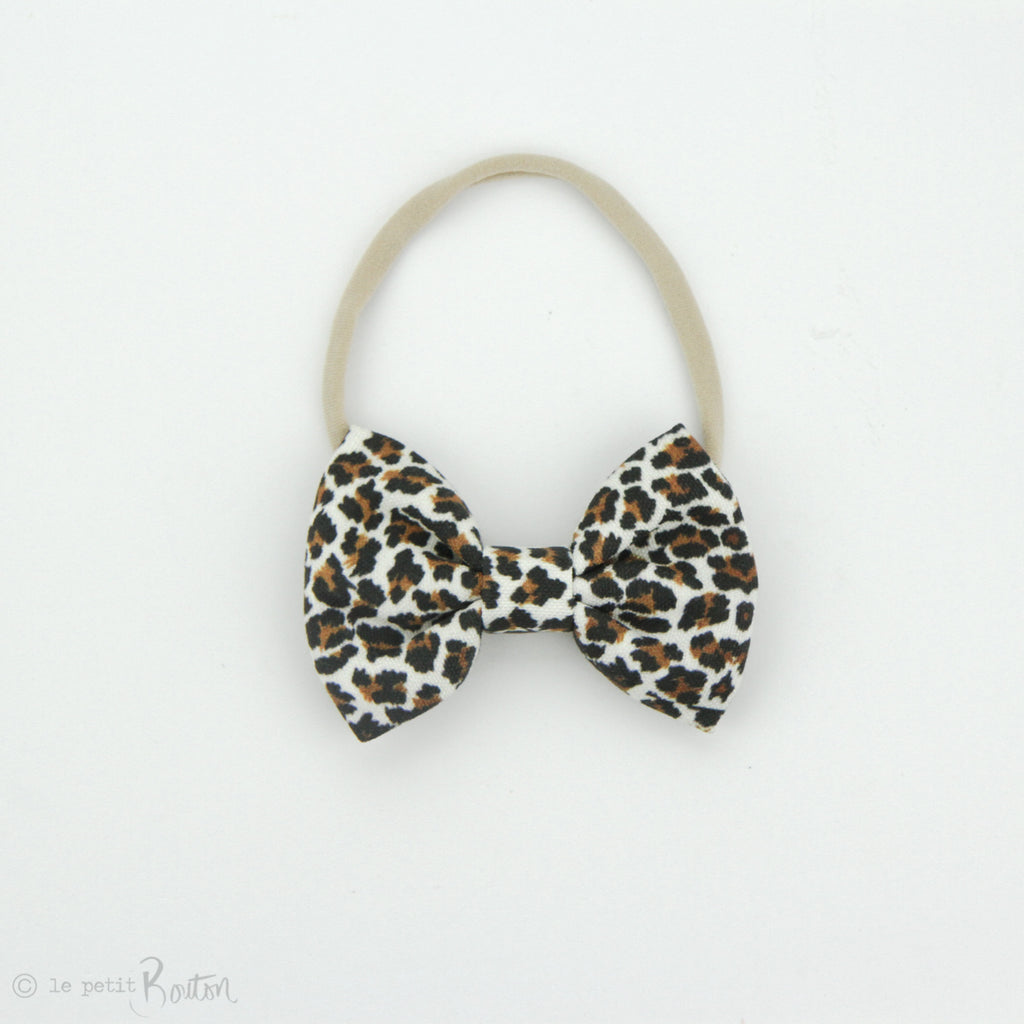 aw19/2 Large Linen Bow on Nylon Headband - Mini Roar - Leopard