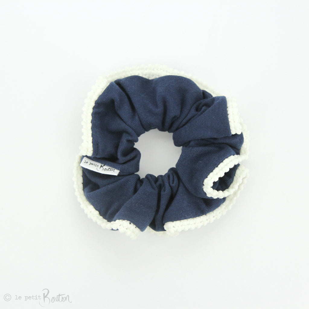 Luxe Statement Scrunchie - Organic Cotton with Pom Pom Trim - Navy