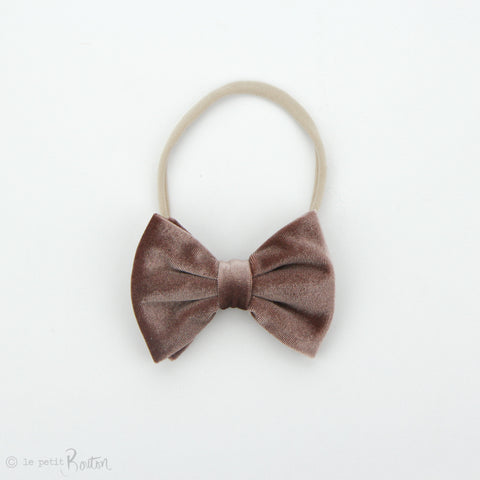 W2020 Velvet Large Bow on Nylon Headband - Dusty pink Velvet