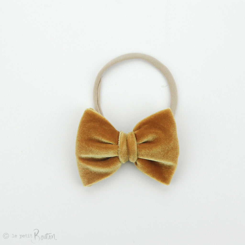 W2020 Velvet Large Bow on Nylon Headband - Mustard Velvet