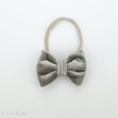 W2020 Velvet Large Bow on Nylon Headband - Chinchilla Velvet