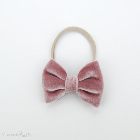 aw19/2 Velvet Large Bow on Nylon Headband - Rose Velvet