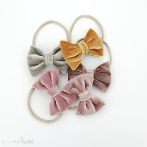 W2020 Velvet Large Bow on Nylon Headband - Rose Velvet
