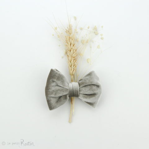 aw19/2 Luxe Velvet Large Bow Hair Clip - Chinchilla Velvet