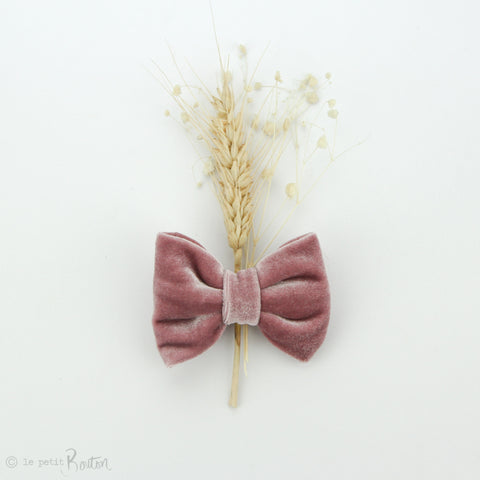 aw19/2 Luxe Velvet Large Bow Hair Clip - Rose Velvet