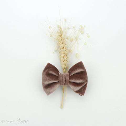 aw19/2 Luxe Velvet Large Bow Hair Clip - Dusty Pink Velvet