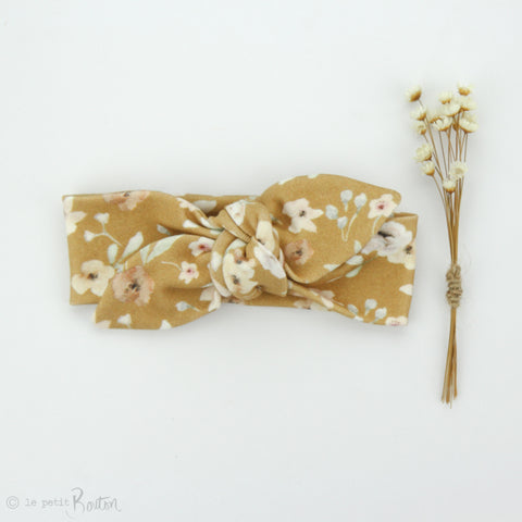 aw19/2 Newborn Organic Cotton Top Knot Headband - Exclusive Golden Wildflower