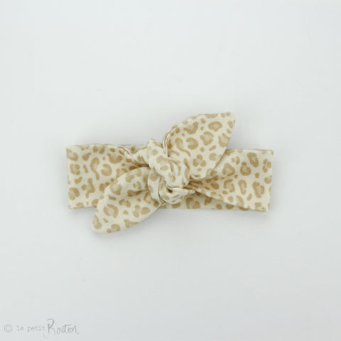 Newborn Organic Cotton Top Knot Headband - Sahara Mini Roar