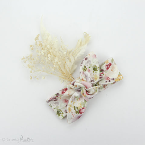 aw19/2 Newborn Organic Cotton Top Knot Headband - Watercolor Wildflowers