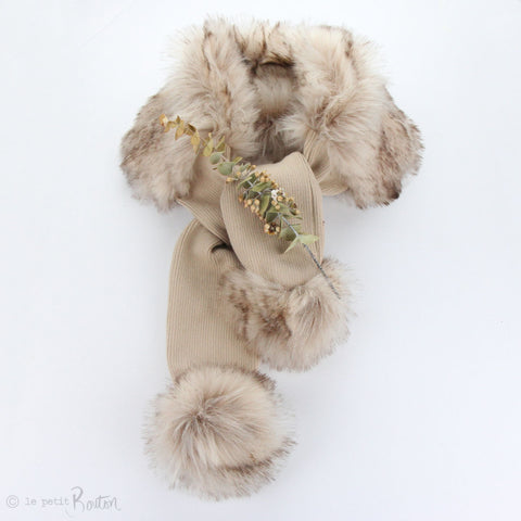 W20 Luxe Faux Fur Pom Pom Scarves - Sable/Wheat