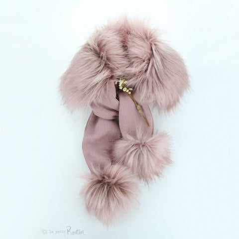 W20 Luxe Faux Fur Pom Pom Scarves - Dusty pink