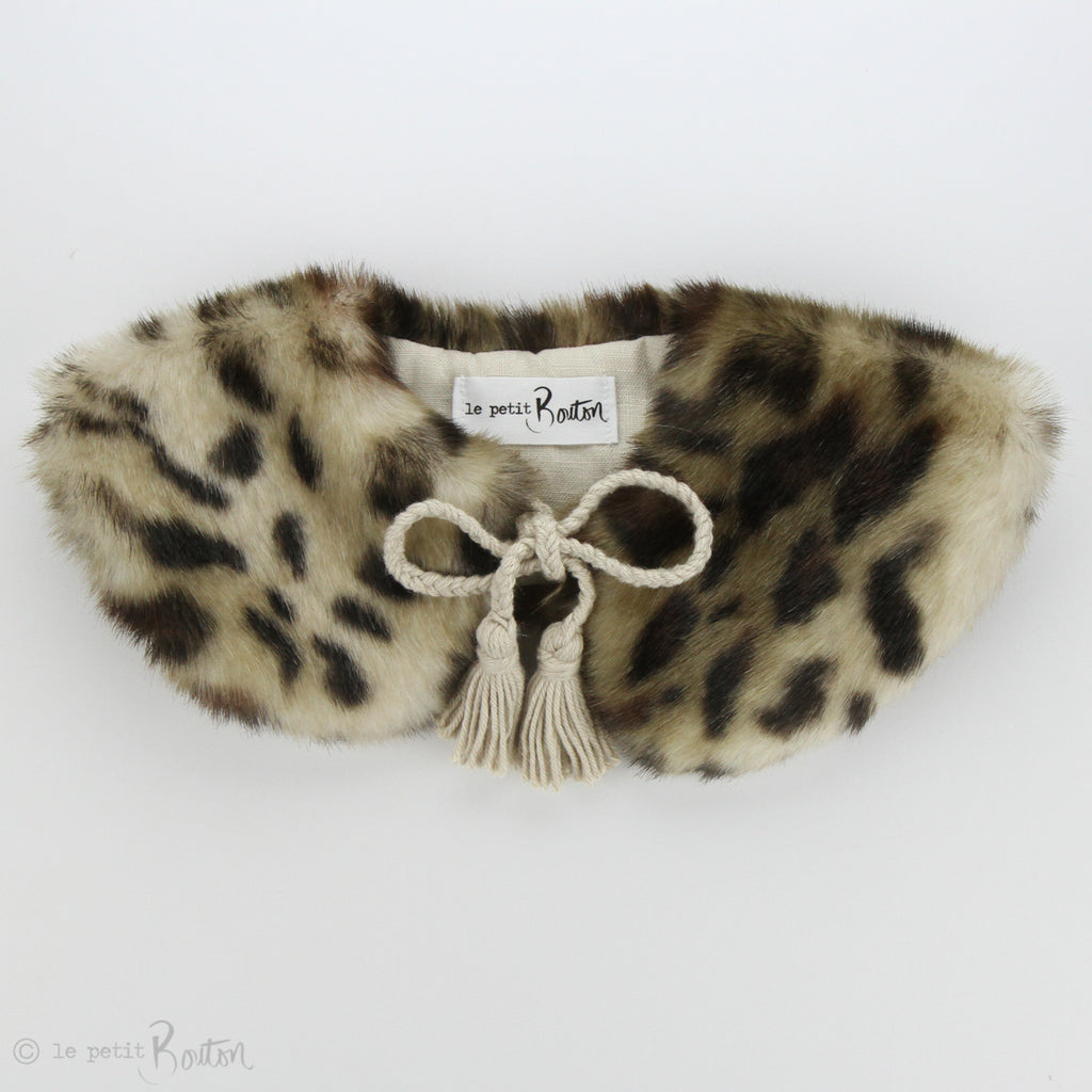 Luxe Faux Fur Collar - Neutral Leopard