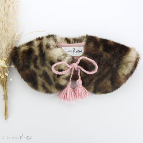 W20 Luxe Faux Fur Collar - Dusty Pink Leopard