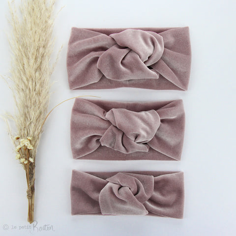 Knotted Turban Headband - Light dusty Pink Velvet