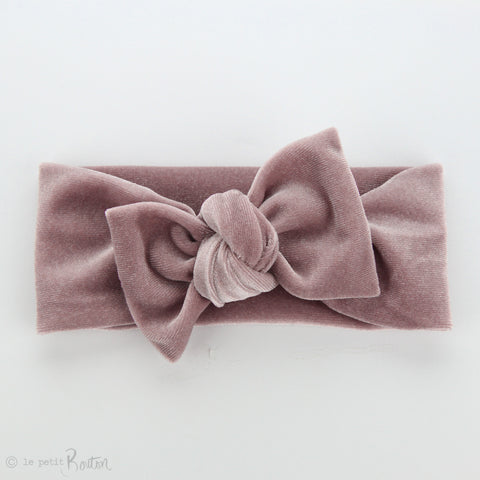 Luxe Velvet Bow Knot Headband - Light Dusty Pink