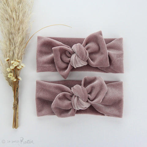 Luxe Velvet Top Knot Headband - Light Dusty Pink