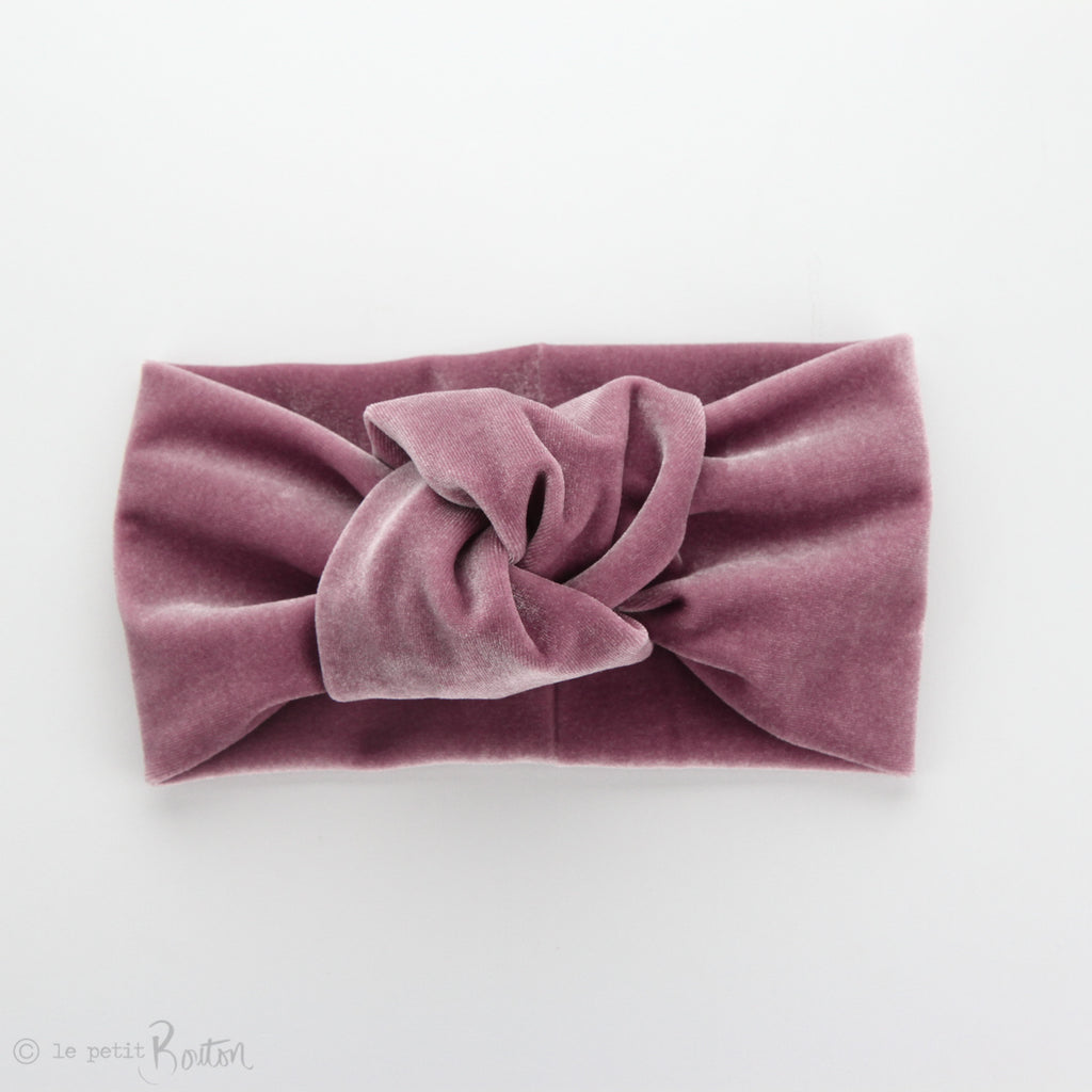 W2020 Knotted Turban Headband - Rose Pink Velvet