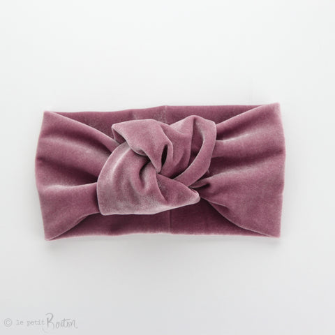 Knotted Turban Headband - Rose Pink Velvet