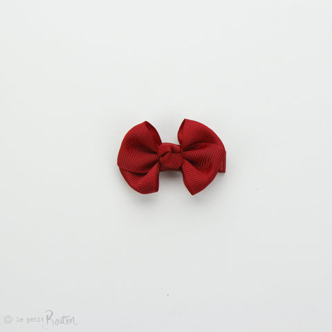 Wide Petit Grosgrain Ribbon Bow Clip - Deep Red