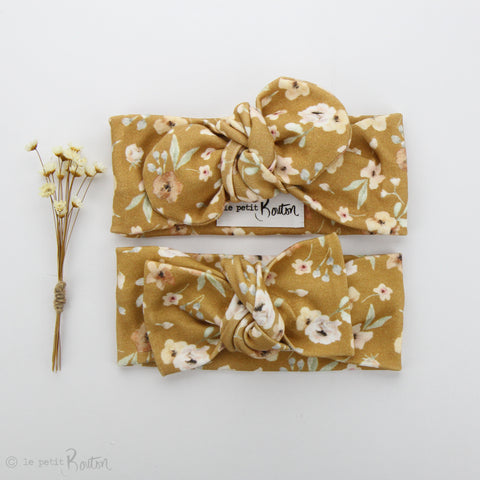 SS19 EXCLUSIVE Organic Cotton Bow Knot Headband - Golden Wildflower