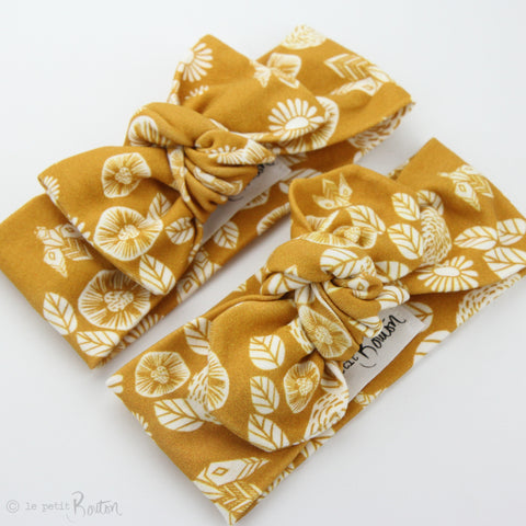Organic Cotton Bow Knot Headband - Honey - Save the Bees - LAST ONE
