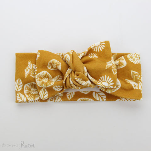 Organic Cotton Bow Knot Headband - Honey - Save the Bees