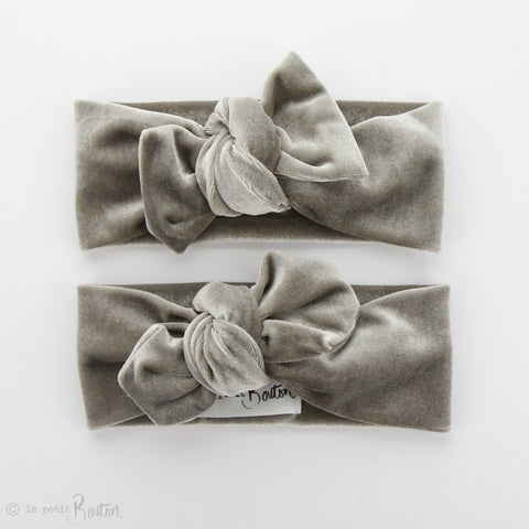 Luxe Velvet Bow Knot Headband - Chinchilla