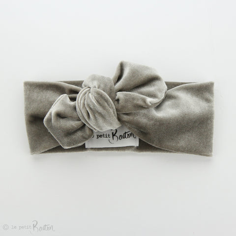 Luxe Velvet Top Knot Headband - Chinchilla