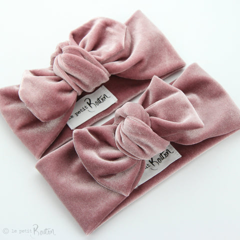 W2020 Luxe Velvet Top Knot Headband - Rose