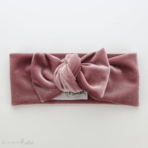 Luxe Velvet Bow Knot Headband - Rose