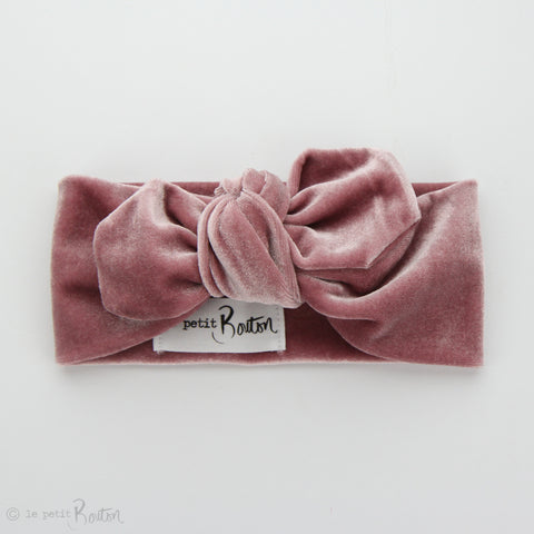 Luxe Velvet Top Knot Headband - Rose