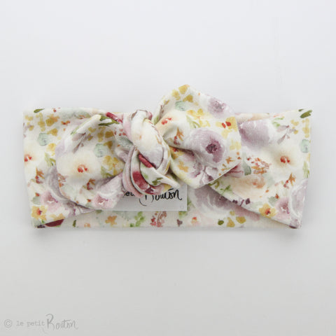 SS19 Organic Cotton Top Knot Headband - Watercolor Wildflowers