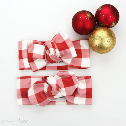 Christmas Organic Cotton Top Knot Headband - Red Gingham