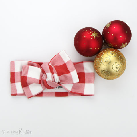 Christmas Organic Cotton Bow Knot Headband - Red Gingham