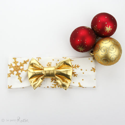 Christmas Faux Leather/ Organic Cotton Bow Turban Headband - Golden Snowflake