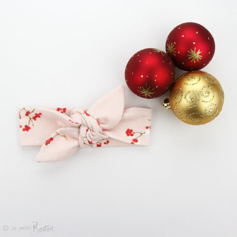 Christmas Newborn Organic Cotton Topknot Headband - Fairy Floss and Berries