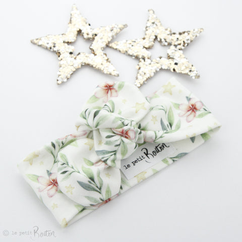 Exclusive Christmas Organic Cotton Top Knot Headband - Stars and Blooms