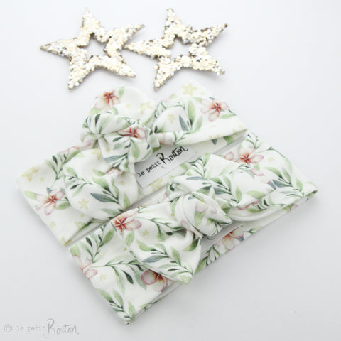 Exclusive Christmas Organic Cotton Bow Knot Headband - Stars and Blooms