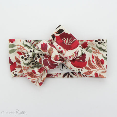 Christmas Organic Cotton Bow Knot Headband - Vintage Christmas