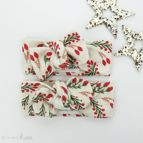 Christmas Organic Cotton Bow Knot Headband - Vintage Berries