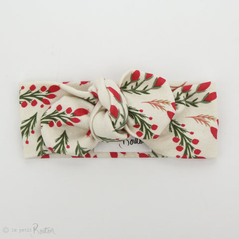 Christmas Organic Cotton Top Knot Headband - Vintage Berries