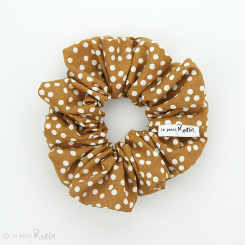 Luxe Statement Scrunchie - Gingerbread Spotted Linen