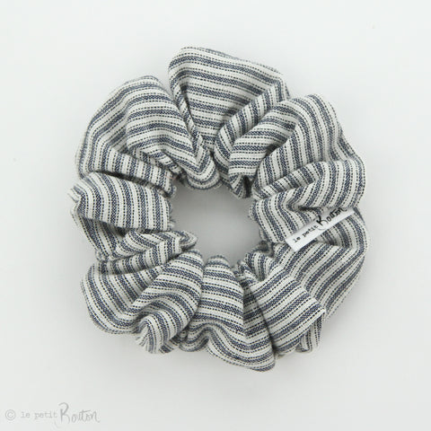 Luxe Statement Scrunchie - Navy and White Vintage Spripe Linen