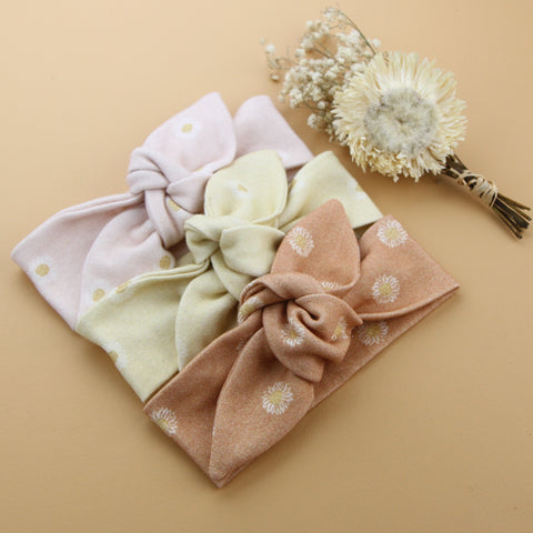 Autumn20 Newborn Organic Cotton Top Knot Headband - Easter Daisy - Clay