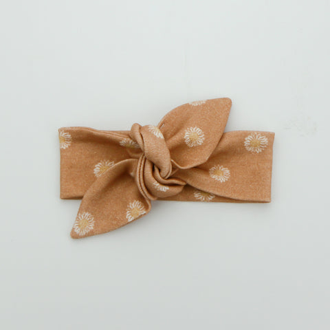 Autumn20 Newborn Organic Cotton Top Knot Headband - Daisy - Clay