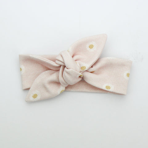 Autumn20 Newborn Organic Cotton Top Knot Headband - Easter Daisy - Shell Pink