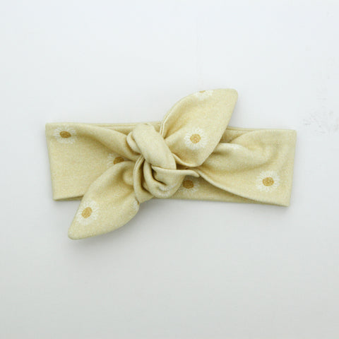 Newborn Organic Cotton Top Knot Headband - Daisy - Lemon
