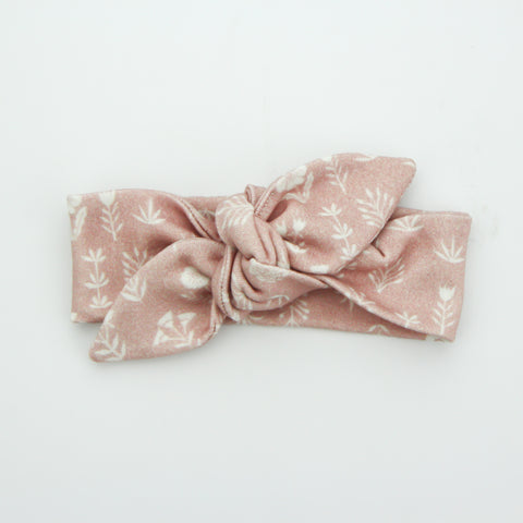 Newborn Organic Cotton Top Knot Headband - Rosewood - 2 LEFT